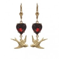 Ruby Victoriana Bird Earrings Web