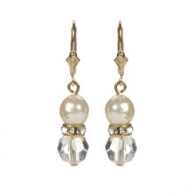 vtg Crystal & White Pearl Earrings