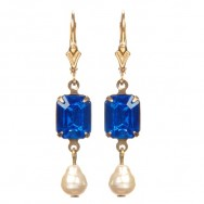 Georgian Rhinestone Earrings in Cobalt