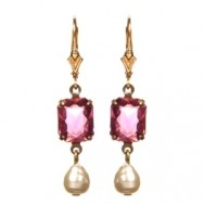 Pink Georgian Rhinestone Earrings Web