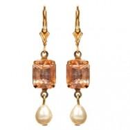 Georgian rhinestone earrings in peach