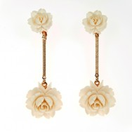 Long celluloid rose earrings