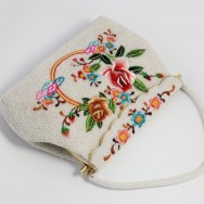 White Chinese Beaded Bag