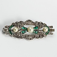 Art Deco Emerald Brooch