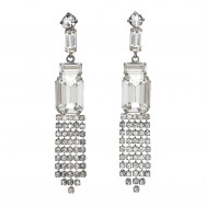 French 1950s Rhinestone Drop Earrings