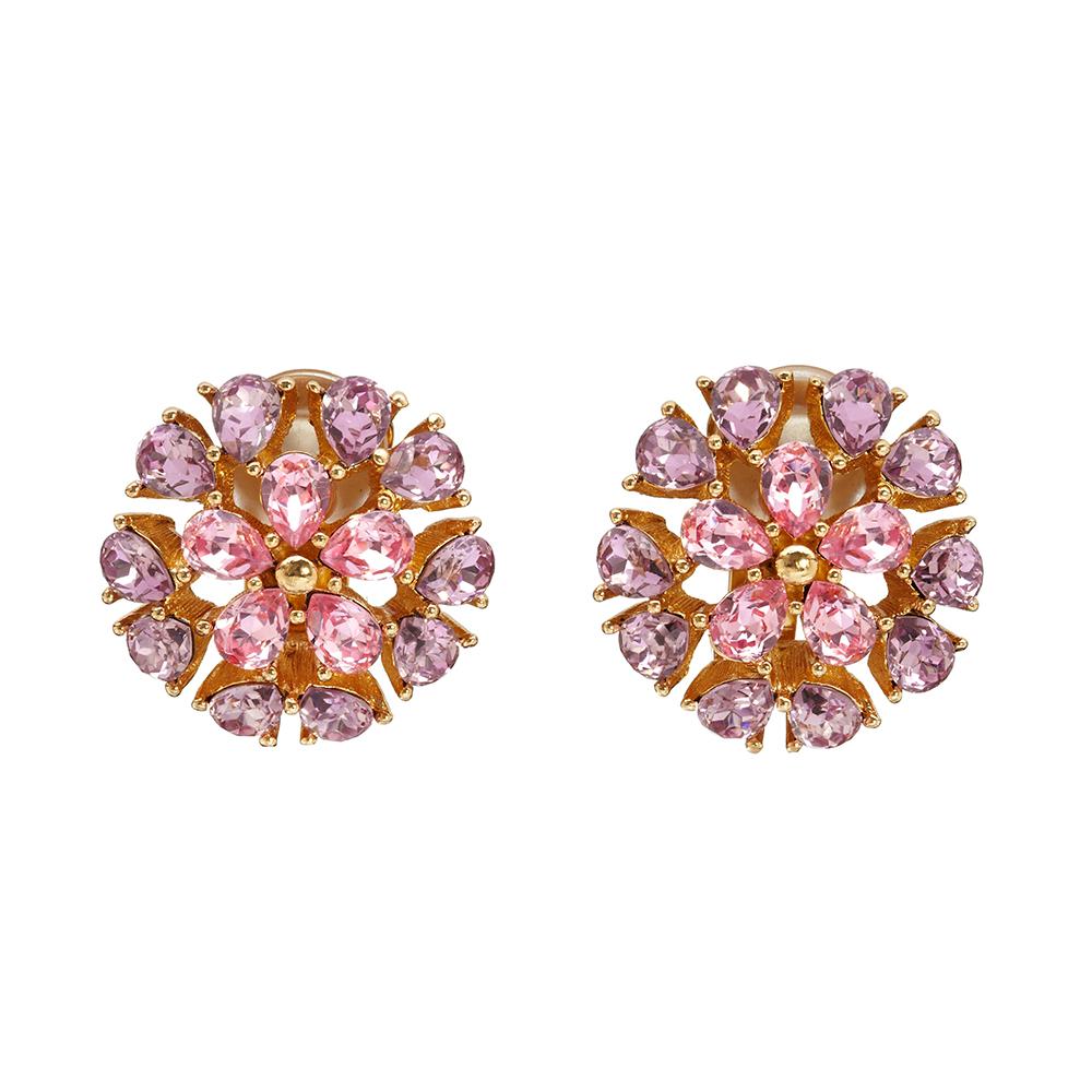 aeb968039c5 Vintage Christian Dior Pink Floral Earrings