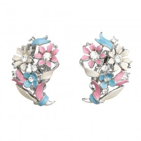 Lisner Enamel Flower Earrings